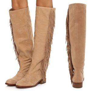 Sam edelman JOSEPHINE brown suede boots fringe 10